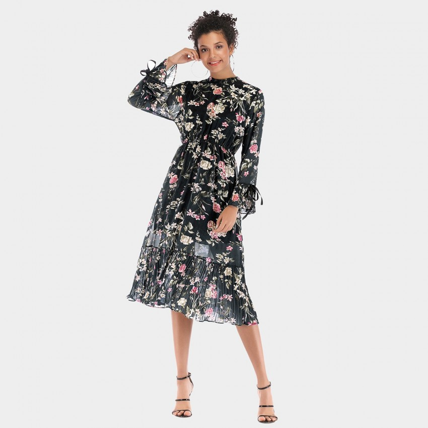 Buy YYFS Floral Long-Sleeved Black Dress online, shop YYFS with free shipping