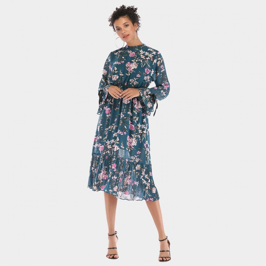 Buy YYFS Floral Long-Sleeved Blue Dress online, shop YYFS with free shipping