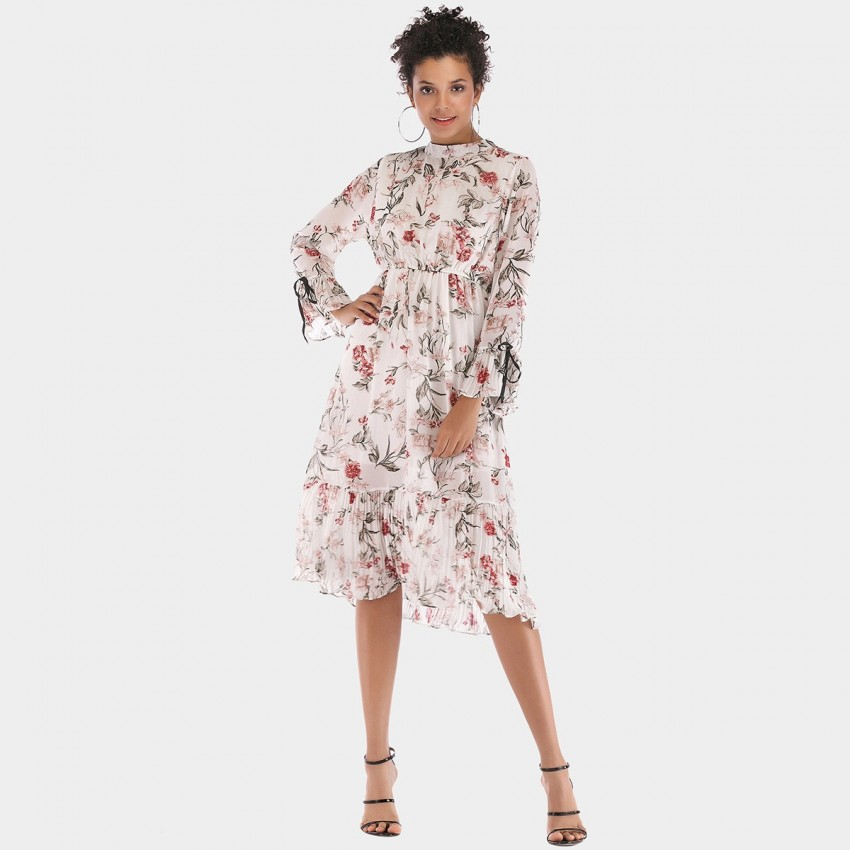 Buy YYFS Floral Long-Sleeved White Dress online, shop YYFS with free shipping