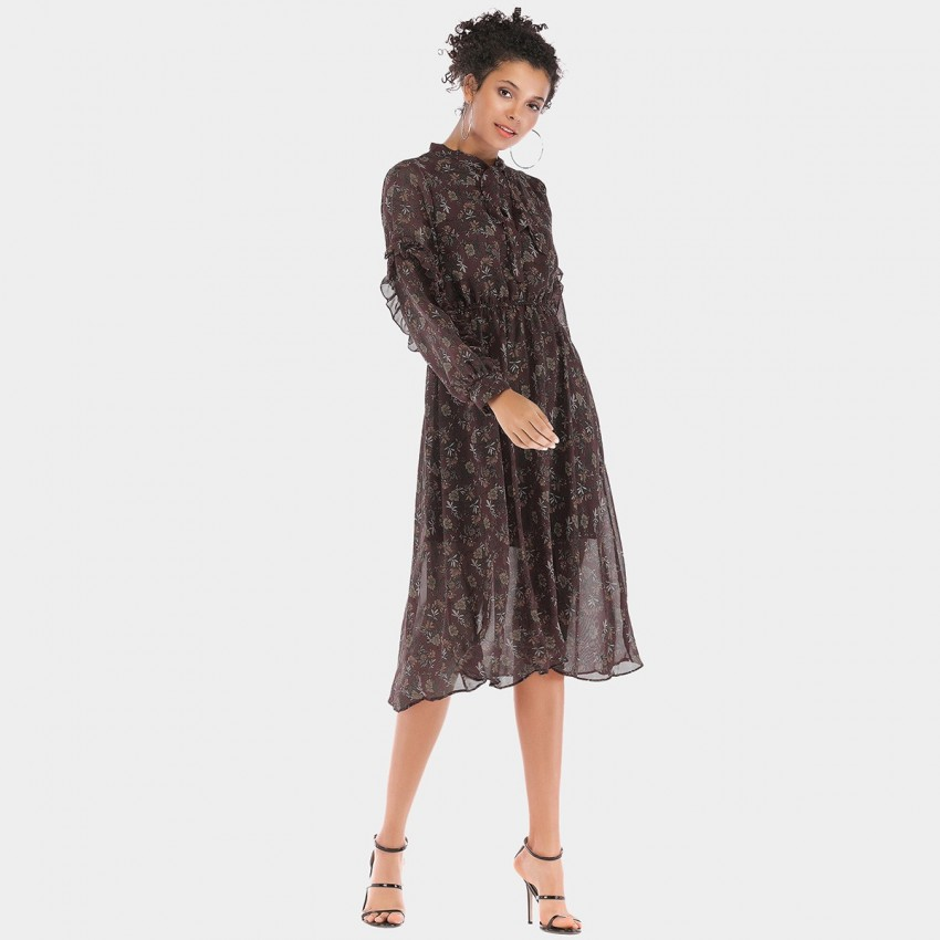 Buy YYFS Floral See-Through Tulle Brown Dress online, shop YYFS with free shipping