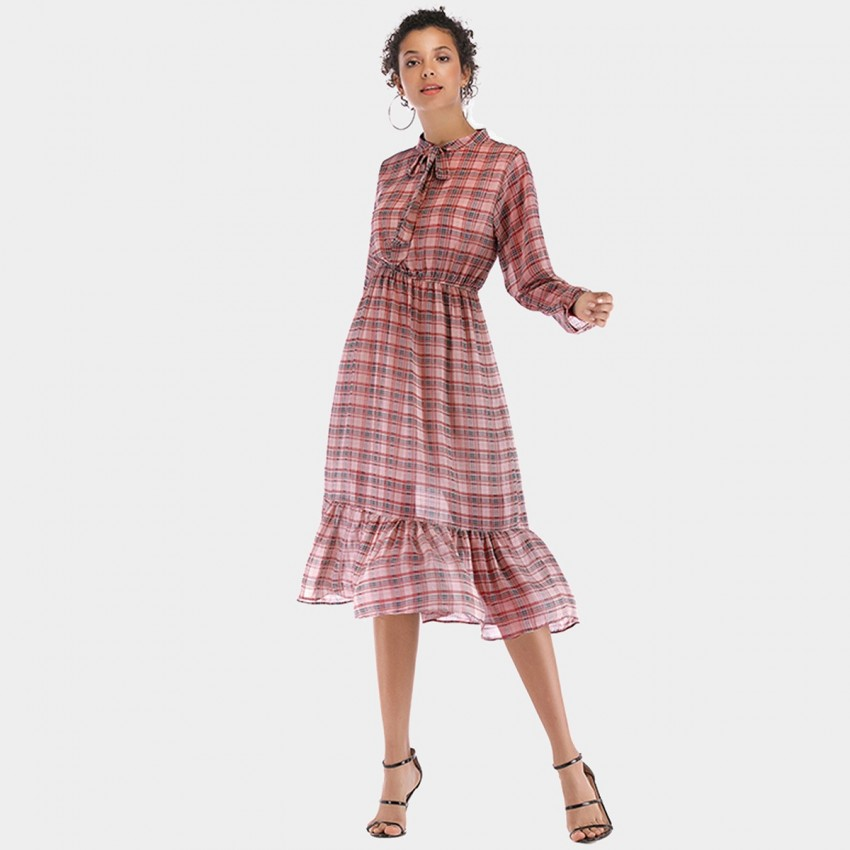 Buy YYFS Vintage Checked Red Dress online, shop YYFS with free shipping