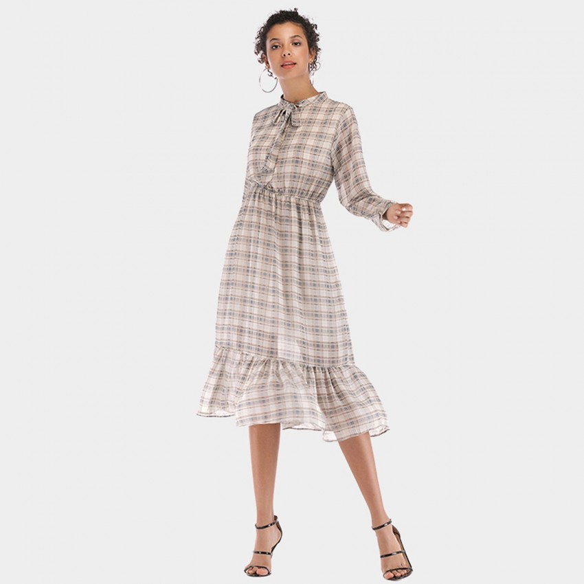 Buy YYFS Vintage Checked White Dress online, shop YYFS with free shipping