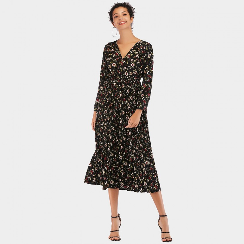 Buy YYFS Floral Long Black Dress online, shop YYFS with free shipping