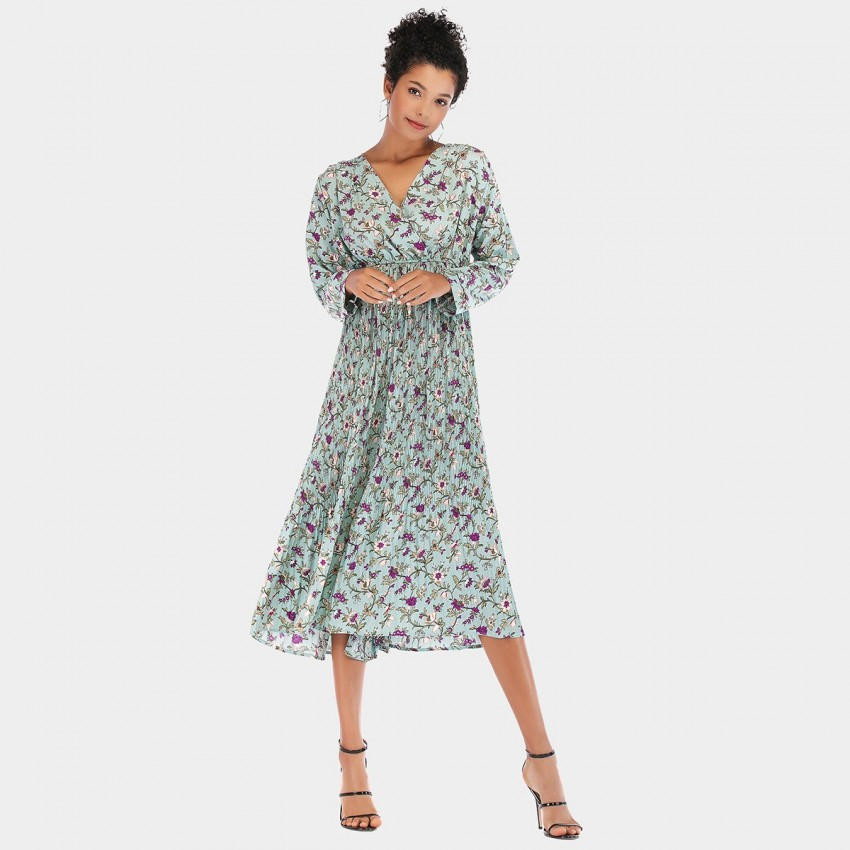 Buy YYFS Floral Long Blue Dress online, shop YYFS with free shipping