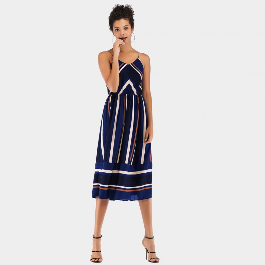 Buy YYFS Line Strap Blue Dress online, shop YYFS with free shipping