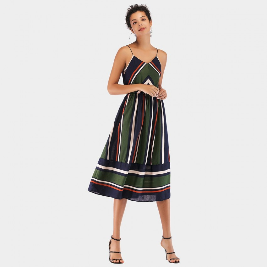 Buy YYFS Line Strap Green Dress online, shop YYFS with free shipping