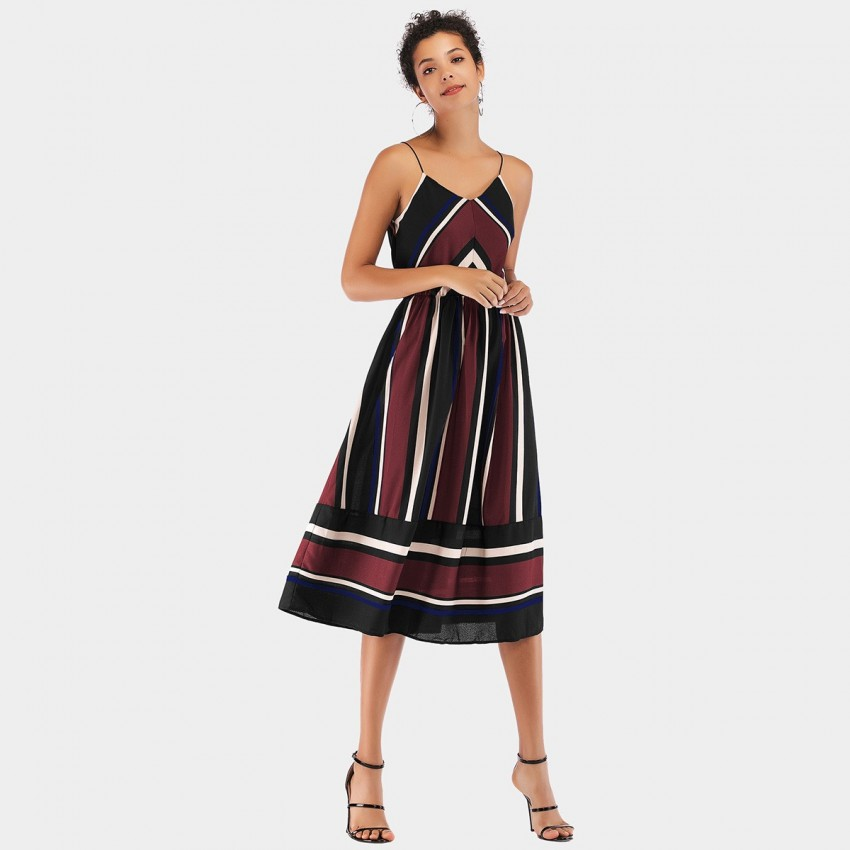 Buy YYFS Line Strap Wine Dress online, shop YYFS with free shipping