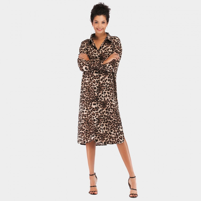 Buy YYFS Animal Print Khaki Dress online, shop YYFS with free shipping