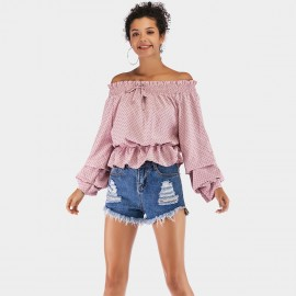 YYFS Off-Shoulder Ruffle Pink Top (5927)