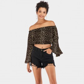 YYFS Animal Print Flared-Cuff Green Top (5928)