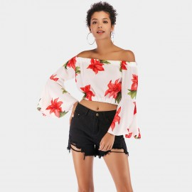 YYFS Floral Flared-Cuff White Top (5928)