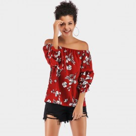YYFS Summery Floral Off-Shoulder Red Top (5930)