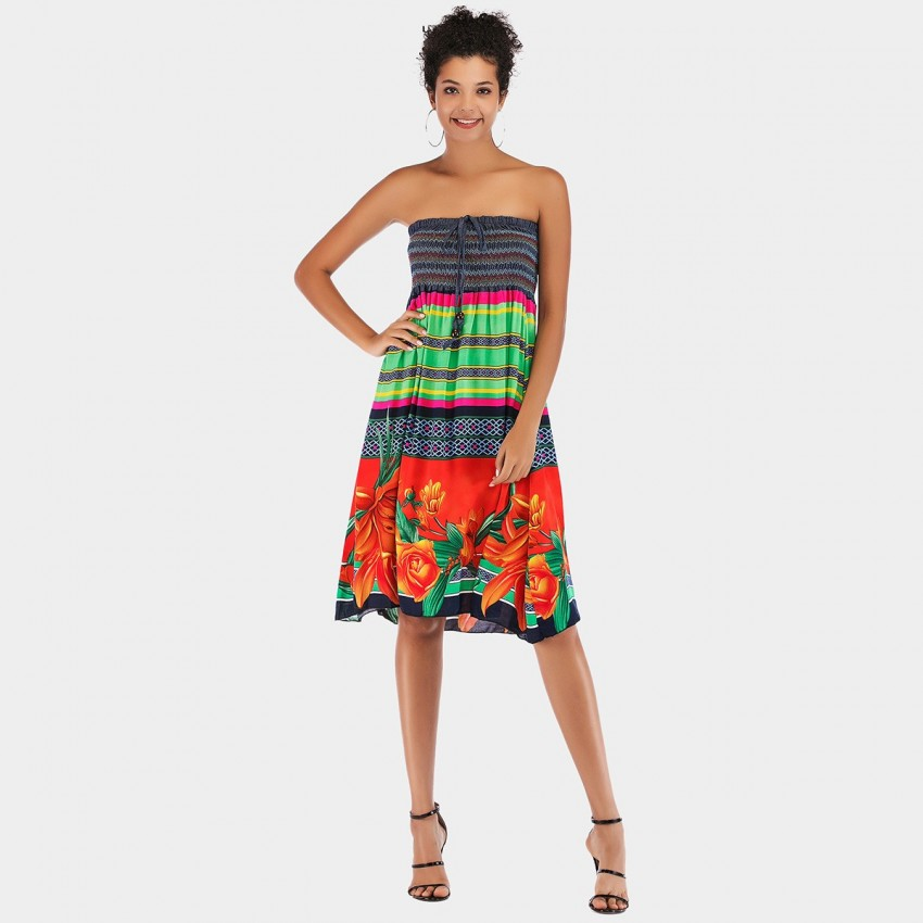 Buy YYFS Folky Tube Top Green Dress online, shop YYFS with free shipping