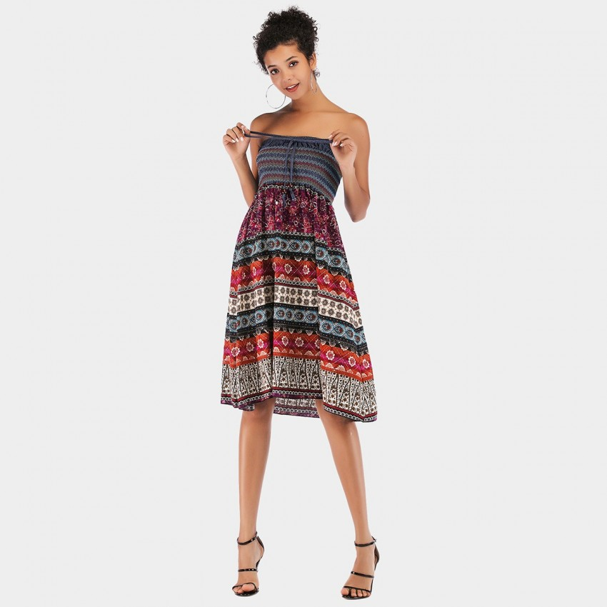 Buy YYFS Folky Tube Top Wine Dress online, shop YYFS with free shipping