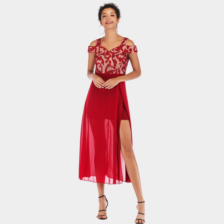 Buy YYFS Noble Strap Red Dress online, shop YYFS with free shipping