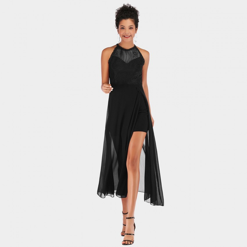Buy YYFS Lace Tulle Evening Black Dress online, shop YYFS with free shipping