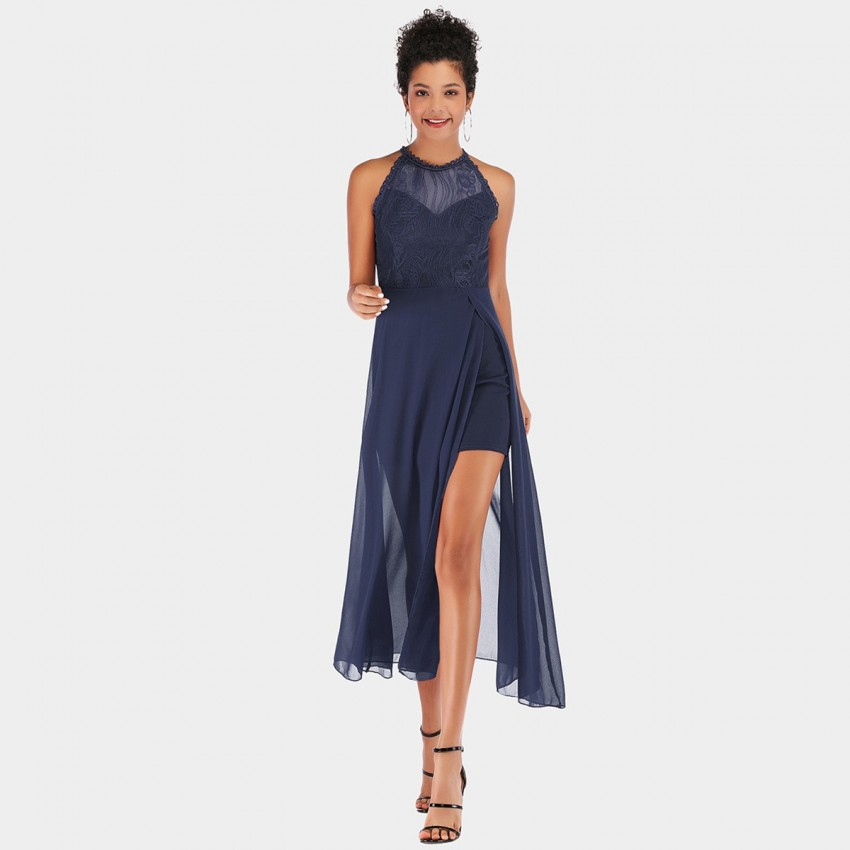 Buy YYFS Lace Tulle Evening Navy Dress online, shop YYFS with free shipping