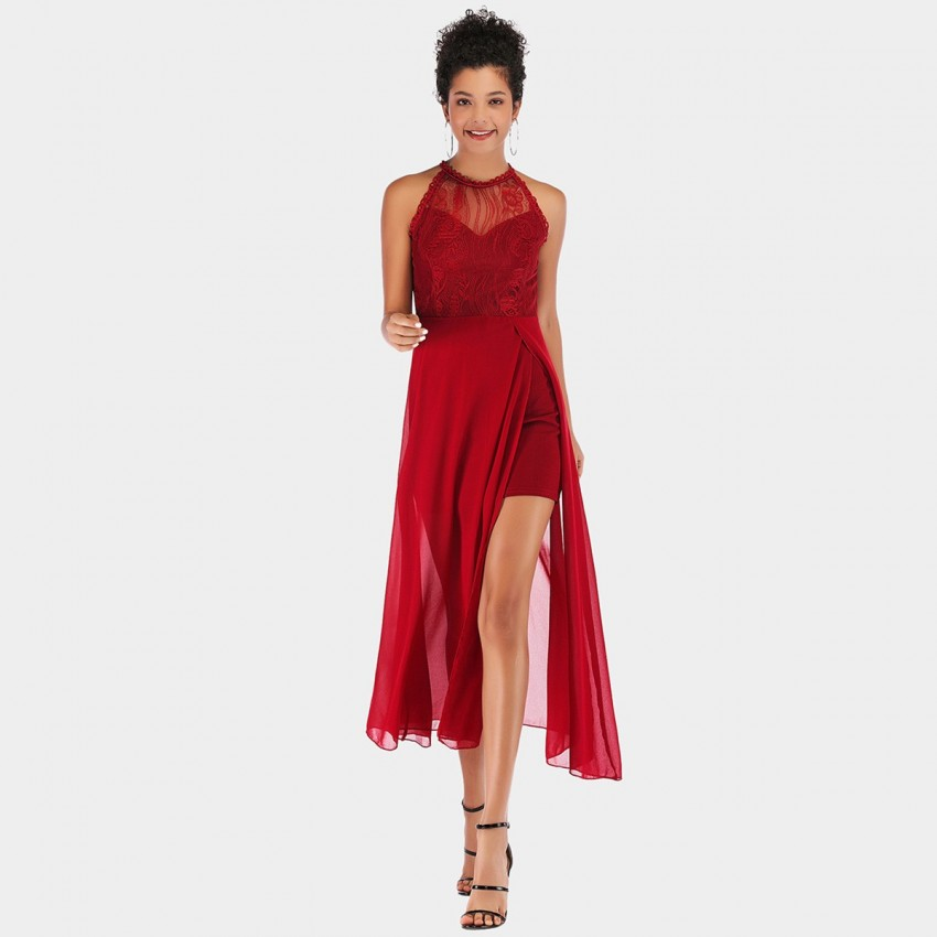 Buy YYFS Lace Tulle Evening Red Dress online, shop YYFS with free shipping