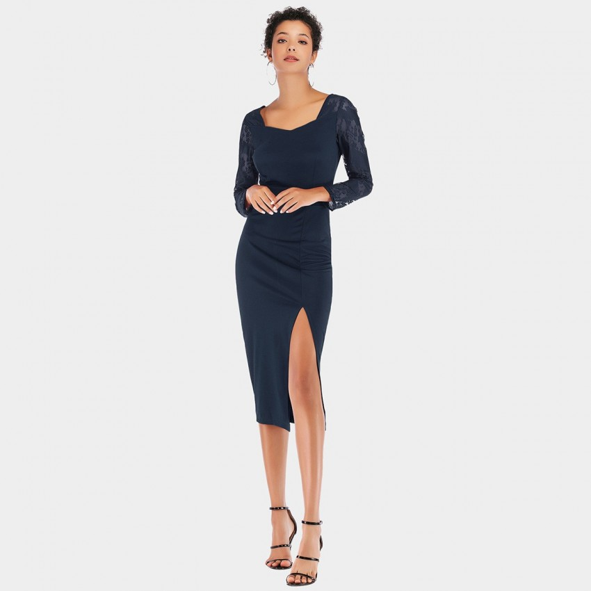 Buy YYFS Lace Long-Sleeved Navy Dress online, shop YYFS with free shipping