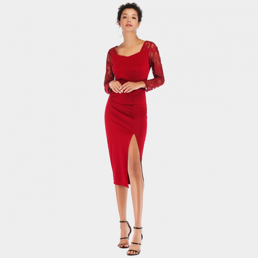 Buy YYFS Lace Long-Sleeved Red Dress online, shop YYFS with free shipping