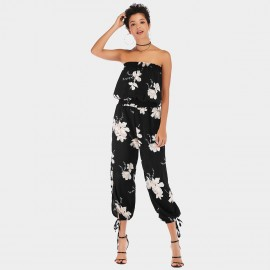 YYFS Long Pants Floral Black Jumpsuit (5938)