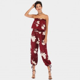 YYFS Long Pants Floral Wine Jumpsuit (5938)
