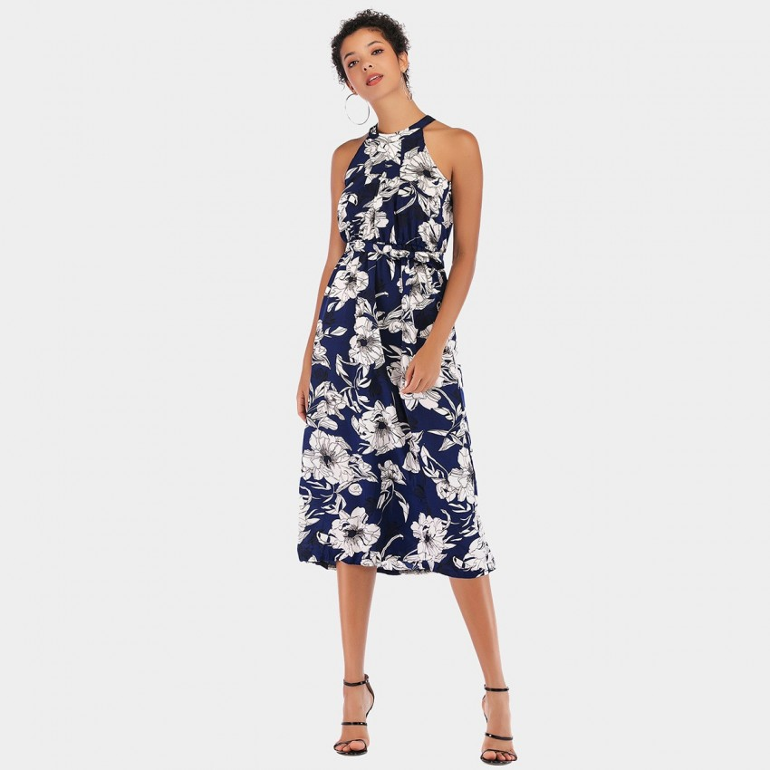 Buy YYFS Vibrant Floral Cut-Shoulder Navy Dress online, shop YYFS with free shipping