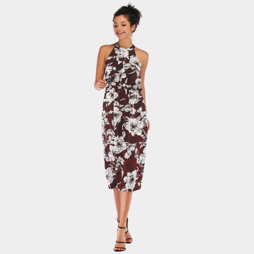 Buy YYFS Vibrant Floral Cut-Shoulder Wine Dress online, shop YYFS with free shipping