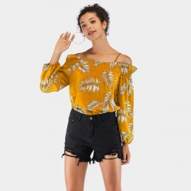 YYFS Leaves Print Yellow Top (5944)