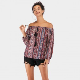 YYFS Folky Print Off-Shoulder Wine Top (5945)
