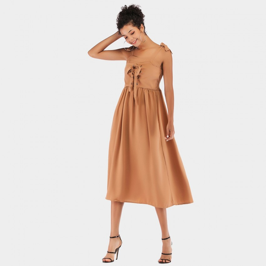Buy YYFS Ribbon Camel Dress online, shop YYFS with free shipping