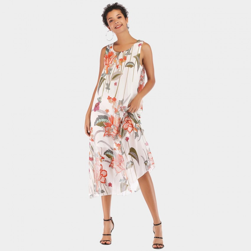 Buy YYFS Floral Vest White Dress online, shop YYFS with free shipping
