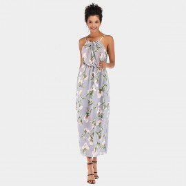 YYFS Floral Casual Long Blue Dress (5952)