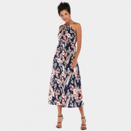YYFS Floral Casual Long Navy Dress (5952)
