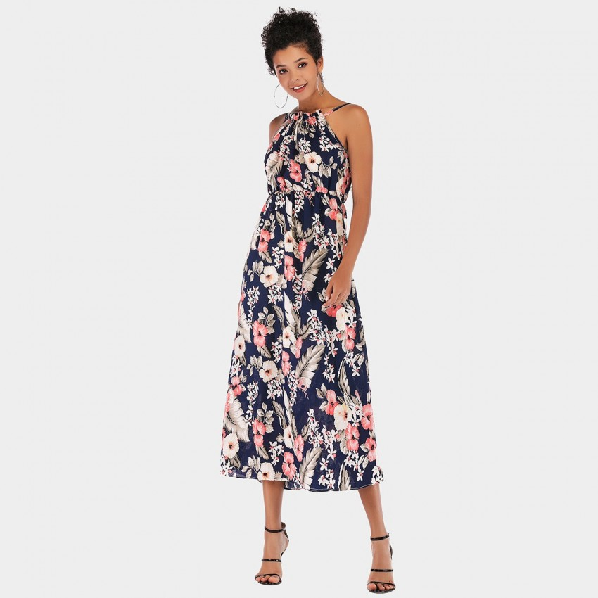 Buy YYFS Floral Casual Long Navy Dress online, shop YYFS with free shipping
