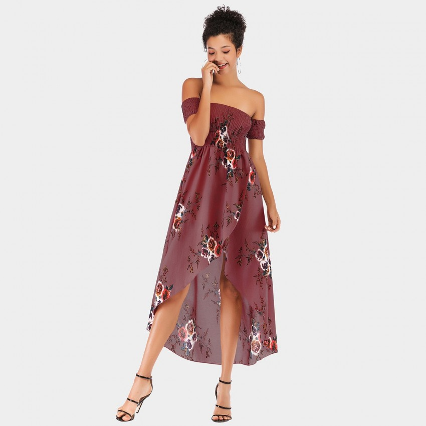 Buy YYFS Elastic Off-Shoulder Floral Wine Dress online, shop YYFS with free shipping