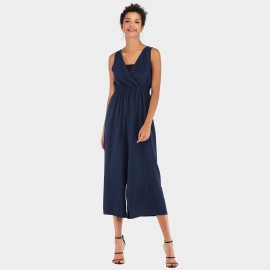 YYFS V-Neck Flared Pant Navy Jumpsuit (5955)