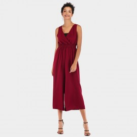 YYFS V-Neck Flared Pant Wine Jumpsuit (5955)