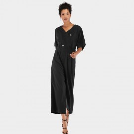 YYFS Loose Button Black Jumpsuit (5956)