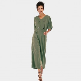 YYFS Loose Button Green Jumpsuit (5956)