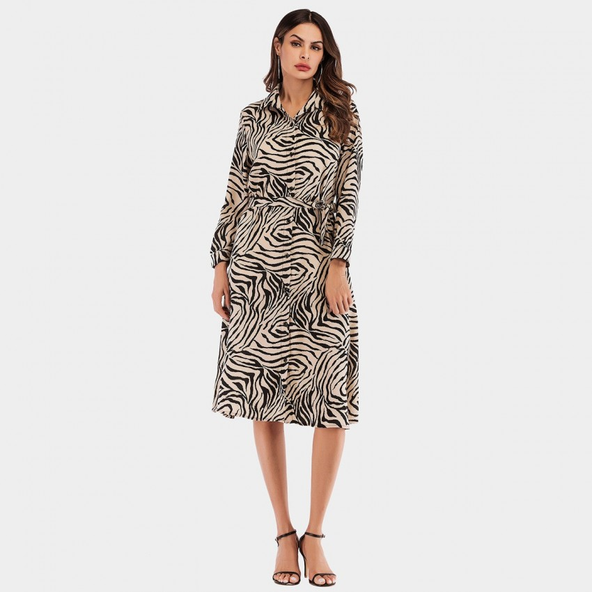 Buy YYFS Animal Print Wild Apricot Dress online, shop YYFS with free shipping