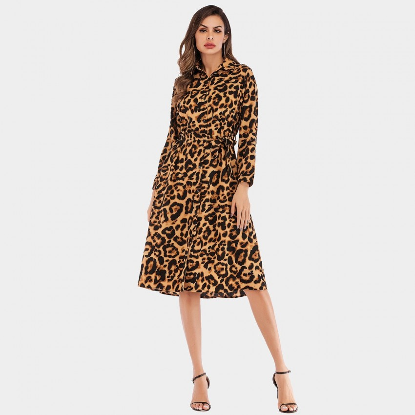Buy YYFS Animal Print Wild Camel Dress online, shop YYFS with free shipping