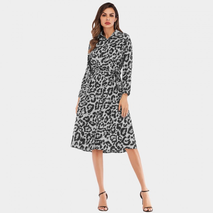 Buy YYFS Animal Print Wild Grey Dress online, shop YYFS with free shipping