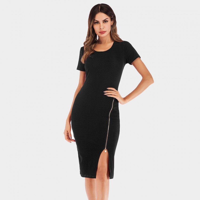 Buy YYFS Short-Sleeved Pearl Zipper Black Dress online, shop YYFS with free shipping