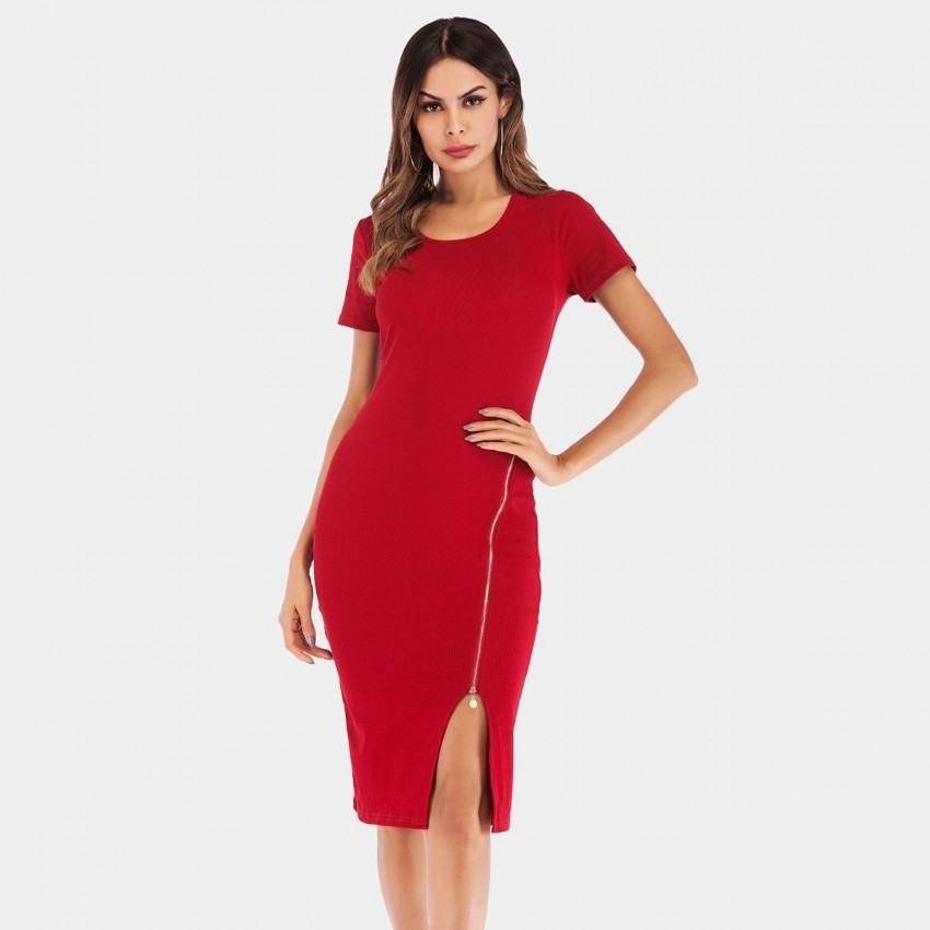 Buy YYFS Short-Sleeved Pearl Zipper Red Dress online, shop YYFS with free shipping