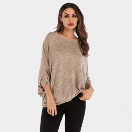 YYFS Oversized Bat Sleeves Khaki Tee (5960)