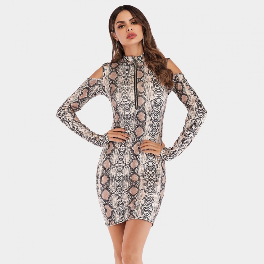 Buy YYFS Cut-Shoulder Snake Dress online, shop YYFS with free shipping