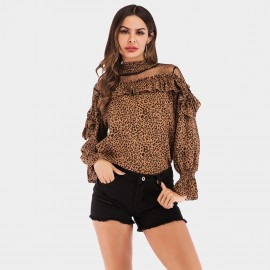 YYFS Leopard Ruffle Cuff Brown Top (5970)