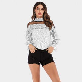 YYFS Dotted Ruffle Cuff White Top (5970)