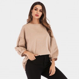YYFS Checked Flare Cuff Apricot Top (5972)
